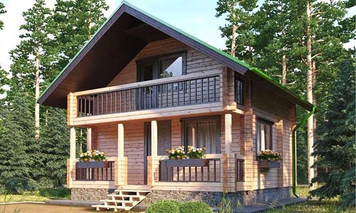 Загородный коттедж с высокими потолками -